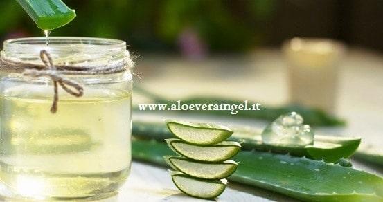 Gel di aloe vera in barattolo e foglie di aloe